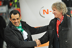 08.03.2014, easyCredit Stadion, Nuernberg, GER, 1. FBL, 1. FC Nuernberg vs SV Werder Bremen, 24. Runde, im Bild Trainer Robin Dutt (Werder Bremen / links), Trainer Gertjan Verbeek (1 FC Nuernberg / rechts) geben sich vor dem Spiel die Hand // during the German Bundesliga 24th round match between 1. FC Nuernberg and SV Werder Bremen at the easyCredit Stadion in Nuernberg, Germany on 2014/03/08. EXPA Pictures © 2014, PhotoCredit: EXPA/ Eibner-Pressefoto/ Merz<br /> <br /> *****ATTENTION - OUT of GER*****