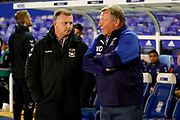 Coventry City Manager Mark Robins   and AFC Wimbledon Manager Wally Downes   during the EFL Sky Bet League 1 match between Coventry City and AFC Wimbledon at the Trillion Trophy Stadium, Birmingham, England on 17 September 2019.
