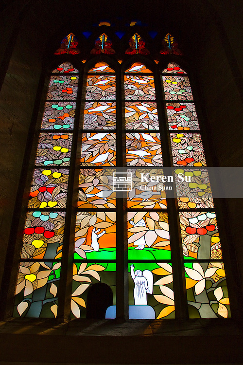 Stained glass window, St Maria's Church, Visby, Gotland Island, Sweden