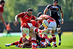 Piri Weepu (London Welsh) box-kicks the ball clear - Photo mandatory by-line: Patrick Khachfe/JMP - Mobile: 07966 386802 06/09/2014 - SPORT - RUGBY UNION - Oxford - Kassam Stadium - London Welsh v Exeter Chiefs - Aviva Premiership