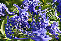 abstract indigo fluid floating shapes with many tones on blurred green background.