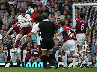 Photo: Lee Earle.<br /> West Ham United v Arsenal. The FA Barclays Premiership. 29/09/2007. Robin Van Persie  heads home Arsenal's first goal.