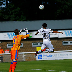 Dover's Jamie Allen stretches for the ball during the pre-season friendly match between Dover Athletic and Gillingham FC at Crabble Stadium, Kent on 21 July 2018. Gillingham ran out 3 to nothing winners. Photo by Matt Bristow.