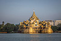 The royal barge in Kandawagyi Lake in Yangon, Burma.