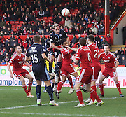 Gary Irvine rises to head for goal -  Aberdeen v Dundee, SPFL Premiership at Pittodrie<br />
