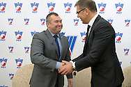(L) Jaroslaw Dabrowski VicePresident of Warsaw City and (R) Krzysztof Suski - President of Polish Tennis Association during press conference the BNP Paribas Davis Cup 2014 between Poland and Croatia at Wedding Palace in Warsaw on March 25, 2014.<br /> <br /> Poland, Warsaw, March 25, 2014<br /> <br /> Picture also available in RAW (NEF) or TIFF format on special request.<br /> <br /> For editorial use only. Any commercial or promotional use requires permission.<br /> <br /> Mandatory credit:<br /> Photo by © Adam Nurkiewicz / Mediasport