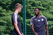 New boy at Dens Roarie Deacon chats to Mark O&rsquo;Hara during pre-season testing at University Grounds, Riverside, Dundee, Photo: David Young<br /> <br />  - &copy; David Young - www.davidyoungphoto.co.uk - email: davidyoungphoto@gmail.com