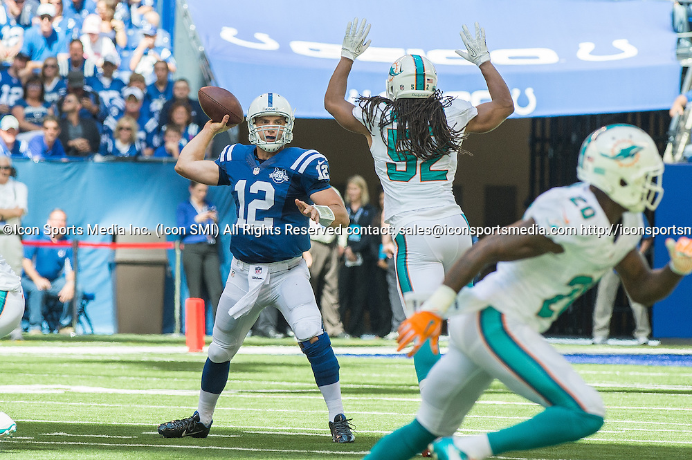September 15, 2013: Indianapolis Colts quarterback Andrew Luck (12) during the football game between the Indianapolis Colts vs Miami Dolphins at Lucas Oil Stadium in Indianapolis, IN.