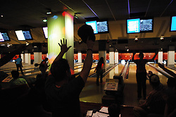 "Team from ""Wicked""..---.New York, NY: Friday, Sept. 5, 2008 : Leisure Time Bowl at Port Authority in New York, NY: The broadway show bowling league - more than a hundred broadway actors, directors, and crew members get together every thursday night at leisure time bowl in the port authority from 11 p.m. until 2 a.m. ..NOTE: PLENTY of add'l images if need for slideshow..---.ROB BENNETT for The New York TImes"