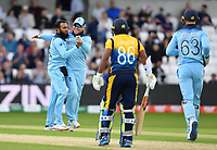 Cricket - 2019 ICC Cricket World Cup - Group Stage: England vs. Sri Lanka<br /> <br /> England's Adil Rashid celebrates taking the wicket of Sri Lanka's Jeevan Mendis caught and bowled for 0, at Headingley, Leeds<br /> <br /> COLORSPORT/ASHLEY WESTERN