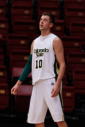 Nov 14, 2011; Stanford CA, USA;  Colorado State Rams guard Wes Eikmeier (10) before a free throw against the Southern Methodist Mustangs during the first half of a preseason NIT game at Maples Pavilion. Colorado State defeated Southern Methodist 75-56. Mandatory Credit: Jason O. Watson-US PRESSWIRE