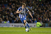 Brighton striker (on loan from Manchester United), James Wilson (21) attacks during the Sky Bet Championship match between Brighton and Hove Albion and Fulham at the American Express Community Stadium, Brighton and Hove, England on 15 April 2016. Photo by Phil Duncan.