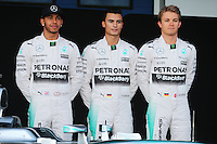 (L to R): Lewis Hamilton (GBR) Mercedes AMG F1 with Pascal Wehrlein (GER) Mercedes AMG F1 Reserve Driver and Nico Rosberg (GER) Mercedes AMG F1.<br /> Formula One Testing, Day One, Sunday 1st February 2015. Jerez, Spain.