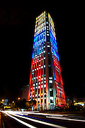 Colombia, Bogota, Torre Colpatria (Colpatria Tower), Colombia's Tallest Office Building, Nightime Illumination Are The Colors Of The Colombian Flag, Streaking Car Lights