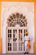 Hindu ceremonial guard at Mehrangarh Fort at Jodhpur in Rajasthan, Northern India
