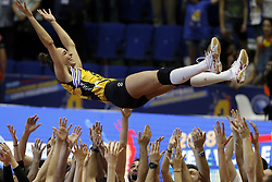 BUCHAREST, May 7, 2018  Gozde Kirdar, captain of Turkey's Vakifbank, is thrown into the air by her teammates after the team won the 2018 CEV Volleyball Champions League final against Romania's CSM Volei Alba Blaj in Bucharest, Romania, May 6, 2018. Vakifbank Istanbul defeated CSM Volei Alba Blaj 3-0 and won the trophy. (Credit Image: © Cristian Cristel/Xinhua via ZUMA Wire)