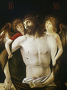 Christ between Two Angels' : the crucified Christ supported by two angels. Giovanni Bellini (c1430-1516). Egg tempera and oil on wood.