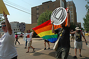 Pro-choice suppoters march to the Mississippi State capital Sturday July 22,2006. The Jackson Mississippi NOW chapter marched to the state capital where they held a rally  Saturday July 22,2006. NOW is holding a rally in response to Operation Save America that has been protesting all over Jackson, in attmpt to close the only abortion clinic in the state of Mississippi. (Photo©Suzi Altman)