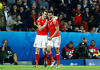 Hal Robson-Kanu (Wales) celebrating with Gareth Bale the goal of 2-1. esultanza gol<br /> Lille 01-07-2016 Stade Pierre Mauroy Football Euro2016 Wales - Belgium / Galles - Belgio <br /> Quarter-finals. Foto Matteo Ciambelli / Insidefoto