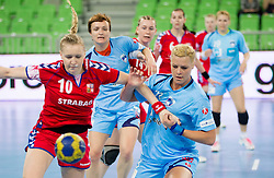 Ruckova of  of Czech republic vs Ana Petrinja of Slovenia during handball match between Women National Teams of Slovenia and Czech Republic of 4th Round of EURO 2012 Qualifications, on March 25, 2012, in Arena Stozice, Ljubljana, Slovenia. (Photo by Vid Ponikvar / Sportida.com)