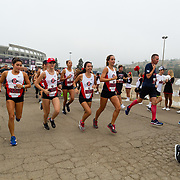 25 August 2017: The San Diego State women's cross country team takes part in the Aztec For Life 5k fun run at Qualcomm Stadium sponsored by Kaiser Permanente. www.sdsuaztecphotos.com