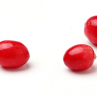 7 new england cranberries on white background