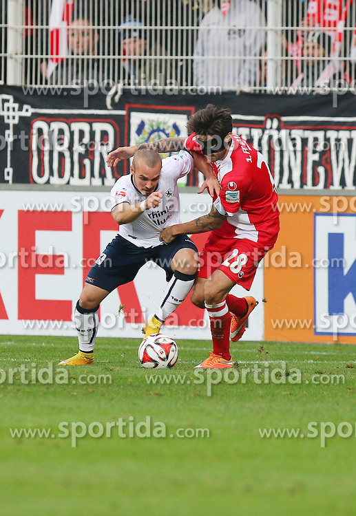 22.11.2014, Alte F&ouml;rsterei, Berlin, GER, 2. FBL, 1. FC Union Berlin vs TSV 1860 Muenchen, 14. Runde, im Bild Zweikampf zwischen Korbinian Vollmann (TSV 1860 Muenchen) und Christopher Trimmel (1. FC Union Berlin) // SPO during the 2nd German Bundesliga 14th round match between 1. FC Union Berlin and TSV 1860 Muenchen at the Alte F&ouml;rsterei in Berlin, Germany on 2014/11/22. EXPA Pictures &copy; 2014, PhotoCredit: EXPA/ Eibner-Pressefoto/ Hundt<br /> <br /> *****ATTENTION - OUT of GER*****