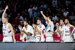 Vladimir Stimac of Serbia and other players react during basketball match between National Teams of Serbia and Hungary at Day 11 in Round of 16 of the FIBA EuroBasket 2017 at Sinan Erdem Dome in Istanbul, Turkey on September 10, 2017. Photo by Vid Ponikvar / Sportida