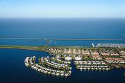 Nederland, Flevoland, Lelystad, 24-10-2013; eengezinswoningen en stadsvilla's in Lelystad-Haven, aan 't Bovenwater. Zicht op het Markermeer.<br /> Family houses and town villas in Lelystad-Haven.<br /> luchtfoto (toeslag op standaard tarieven);<br /> aerial photo (additional fee required);<br /> copyright foto/photo Siebe Swart.