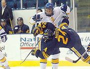Lake Superiior State University's Chad Nehring (white) stands up straight to avoid a hard check from Canisius' Scott Moser during the third period of the two teams Saturday night game at Taffy Abel Arena In Sault Ste. Marie.