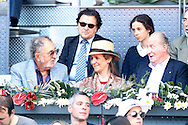 Tennis legend Ion Tiriac, Infanta Elena of Spain her daughter Victoria Federica de Todos los Santos de Marichalar y Borbon and King Juan Carlos I of Spain during day two of the Madrid Open at Manzanares Park Tennis Centre, Madrid<br /> Picture by EXPA Pictures/Focus Images Ltd 07814482222<br /> 03/05/2016<br /> ***UK & IRELAND ONLY***<br /> EXPA-ESP-160503-0049.jpg