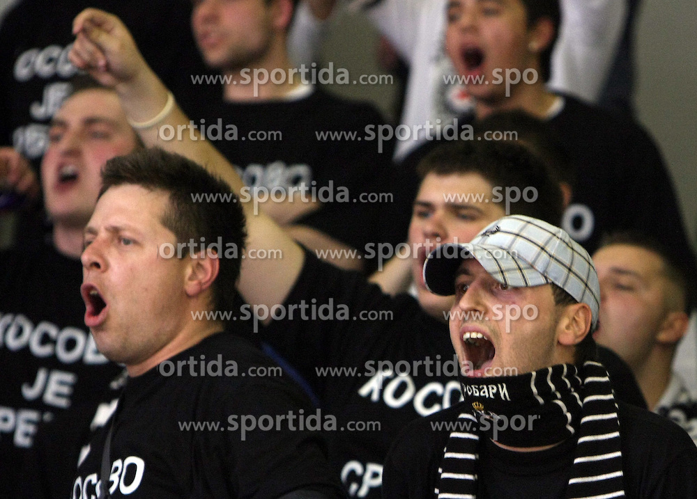 Grobarji - Fans of Partizan during second semi-final match of Basketball NLB League at Final four tournament between KK Partizan Igokea, Beograd, Serbia and Union Olimpija, Ljubljana, Slovenia, on April 25, 2008, in Arena Tivoli in Ljubljana. Match was won by Partizan 94:90. (Photo by Vid Ponikvar / Sportal Images)