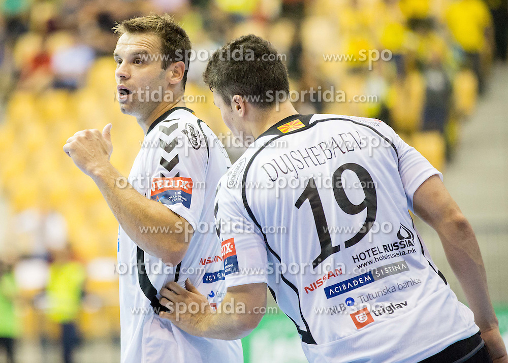 Matjaz Brumen of Vardar and Alex Dujshebaev of Vardar during handball match between RK Celje Pivovarna Lasko and HC Vardar Skopje (MKD) in 1st Round of Group C of EHF Champions League 2014/15, on September 27, 2014 in Arena Zlatorog, Celje, Slovenia. Photo by Vid Ponikvar / Sportida.com