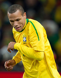 Luis Fabiano of Brazil celebrates after he scored second time during the 2010 FIFA World Cup South Africa Group G Second Round match between Brazil and République de Côte d'Ivoire on June 20, 2010 at Soccer City Stadium in Soweto, suburban Johannesburg, South Africa. (Photo by Vid Ponikvar / Sportida)