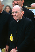 Catholic Cardinal Joseph Bernardin, Archbishop of Chicago, attends a pro-life rally September 12, 1996 in Washington, DC.