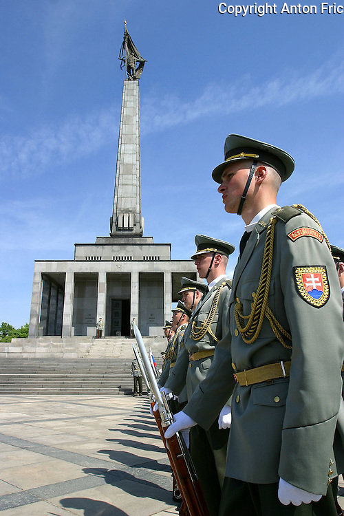 Second world war memorial Slavin towering above Bratislava - capital of Slovakia. Every year a ceremony is held with soldiers and veterans attending.