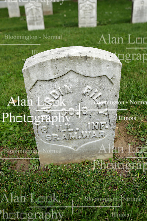 26 August 2017:   A part of the History of McLean County Illinois.<br /> <br /> Tombstones in Evergreen Memorial Cemetery.  Civic leaders, soldiers, and other prominent people are featured. Section 5, the old town soldiers area<br /> Hardin Riley  Co G  8 ILL INF Spanish American War