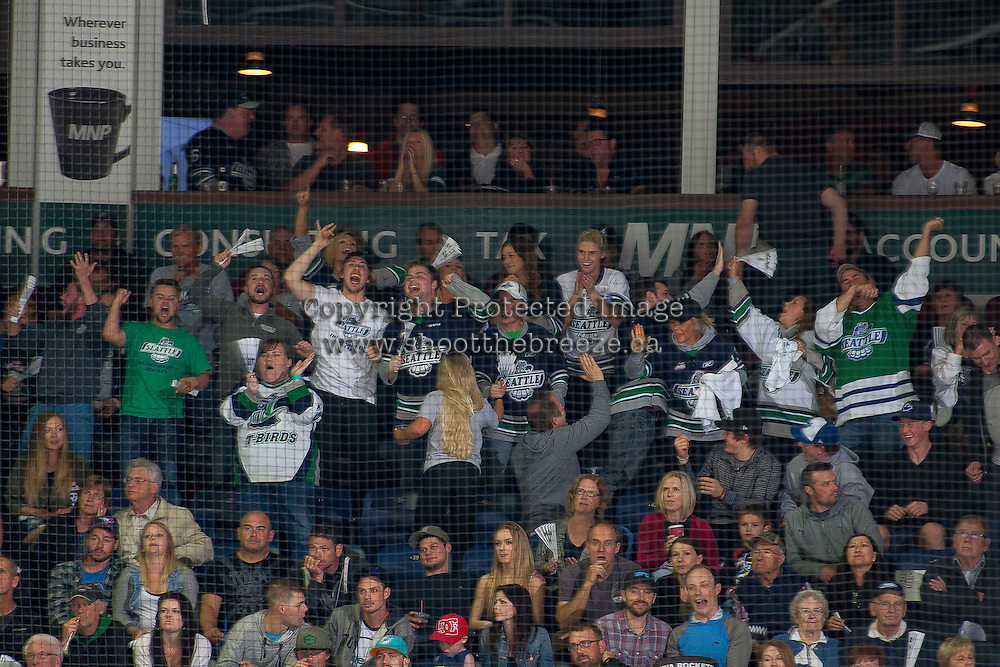 KELOWNA, CANADA - APRIL 22: Seattle Thunderbirds fans cheer a goal against the Kelowna Rockets on April 22, 2016 at Prospera Place in Kelowna, British Columbia, Canada.  (Photo by Marissa Baecker/Shoot the Breeze)  *** Local Caption *** fans