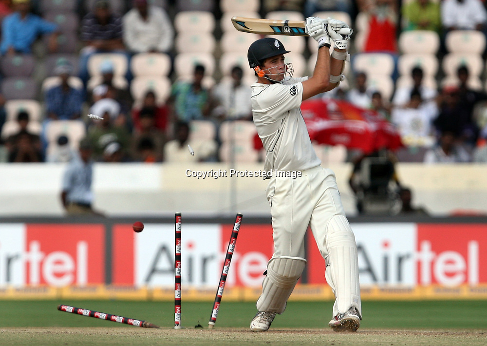 New Zealand batsman Tim Southee Bowld by India bowler S. Sreesanth during the Indian vs New Zealand 2nd test match day-5 Played at Rajiv Gandhi International Stadium, Uppal, Hyderabad 16 November 2010 (5-day match)