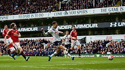 LONDON, ENGLAND - Sunday, April 10, 2016: Tottenham Hotspur's Dele Alli scores the first goal against Manchester United during the Premier League match at White Hart Lane. (Pic by David Rawcliffe/Propaganda)