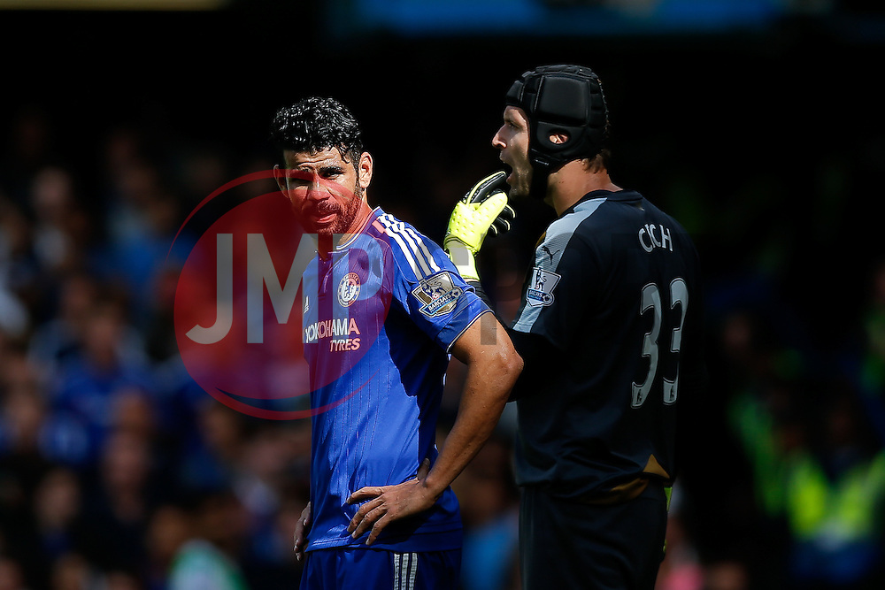 Diego Costa of Chelsea and Petr Cech of Arsenal look on - Mandatory byline: Rogan Thomson/JMP - 07966 386802 - 19/09/2015 - FOOTBALL - Stamford Bridge Stadium - London, England - Chelsea v Arsenal - Barclays Premier League.
