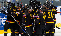 Players of Germany celebrate after the ice-hockey match between Slovakia and Germany of Group A of IIHF 2011 World Championship Slovakia, on May 1, 2011 in Orange Arena, Bratislava, Slovakia. Germany defeated Slovakia 4-3. (Photo By Vid Ponikvar / Sportida.com)