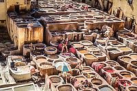 Leathermaking in the medina of Fez, Morocco.