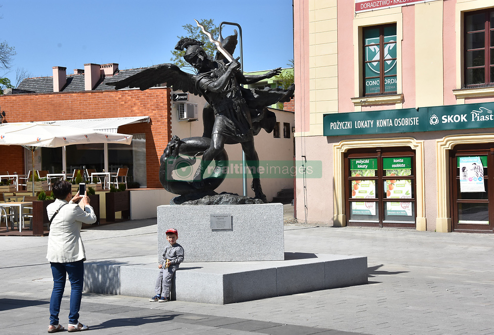 May 5, 2018 - Lubin, Poland - May 05.2018 Lubin Poland Monument to Archangel Michael. The monument cost over PLN 1,000,000 and was financed from the budget of the city of Lubin. (Credit Image: © Piotr Twardysko via ZUMA Wire)