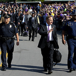 November 25, 2011; Baton Rouge, LA, USA;  LSU Tigers head coach Les Miles walks to the stadium prior to kickoff of a game against the Arkansas Razorbacks at Tiger Stadium.  Mandatory Credit: Derick E. Hingle-US PRESSWIRE