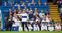 LONDON, ENGLAND - Sunday, August 18, 2019: Chelsea's new manager Frank Lampard reacts during the FA Premier League match between Chelsea's  FC and Leicester City FC at Stamford Bridge. The game ended in a 1-1 draw. (Pic by David Rawcliffe/Propaganda)