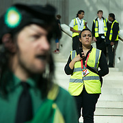 Bp-or-not-BP stage a splash mob art intervention at the British Museum in protest against the continued BP sponsorship of the exhibition 'Sunken Cities' 25th of September 2016. Security staff at the museum let the play run but kept a close eye on any healt and safety issues. A flock of merfolk and BP pirates roamed the museum as well as a kraken, a giant sea monster. The merfolk all advocate more oil exploration and more climate change to raise the sea levels and make their life better.