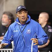 Legendary former 15's player, Brian Lima, expresses his historic competitive spirit as a Manu Samoa 7's assistant coach.  Canada 7's day one, second game, Vancouver, British Columbia.   Photo by Barry Markowitz, 4/12/16, 1:50pm
