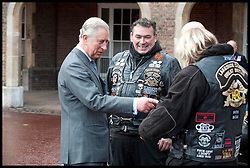 HRH Prince Charles meets ambassadors for the Royal British Legion launch London Poppy Day to raise £1m. Hells Angels .L-R Marcus Simoni, Simon Payne and Dave Hughes. Photo By i-Images