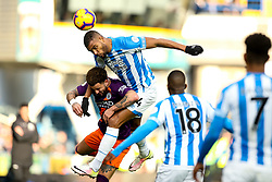 Steve Mounie of Huddersfield Town challenges Kyle Walker of Manchester City - Mandatory by-line: Robbie Stephenson/JMP - 20/01/2019 - FOOTBALL - The John Smith's Stadium - Huddersfield, England - Huddersfield Town v Manchester City - Premier League